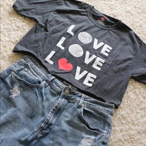 "Hanes ""LOVE"" Crop Top Tee"